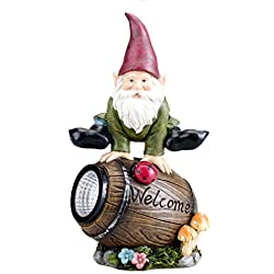 Bo-Toys Solar Powered Gnome Jumping Over a Barrel with Ladybug LED Garden Light Decor