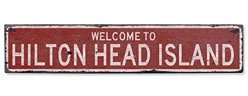 (HarrodxBOX Welcome to Hilton Head Island Vintage US Hilton Head Island, South Carolina Distressed Custom City Sign Retro Metal Sign Wall Decor Art Shop Man Cave Bar Garage)