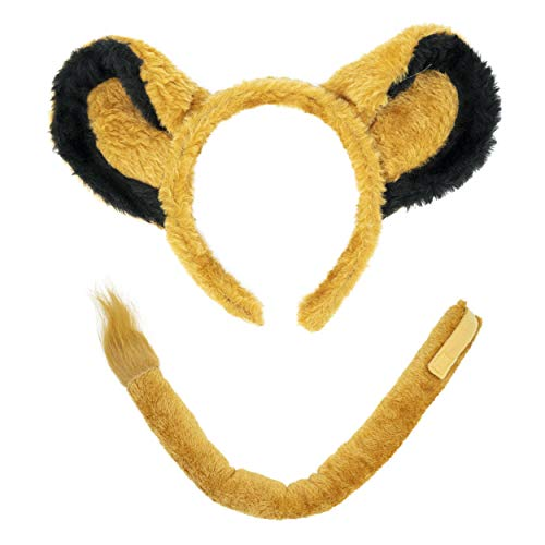 Lion Halloween Ears (Lion Headband Ears and Tail Costume Accessory Set - Fits Adults and)