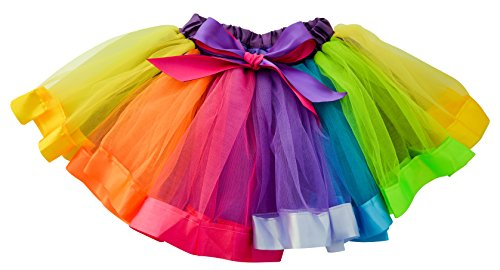 Bright Toddler Rainbow Costume (Dancina Tutu Baby Girl Fluffy Layered Ballerina Pettiskirt Chiffon Dance Skirt Outfit 2-5 years)