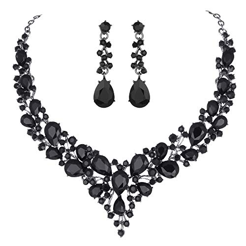 Youfir Bridal Austrian Crystal Necklace and Earrings Jewelry Set Gifts fit with Wedding Dress (Black-Black Tone) -