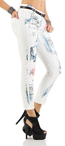 ZARMEXX 10912 mujeres pantalones holgados del novio Jeans Jeggings Stretch Chino cinturón de mariposa de la letra -Imprimir blanco