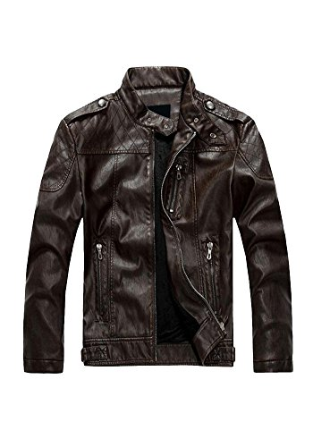 XINISI Young Men PU Leather Jacket Men Motorcycle With Stand Collar and Down for Winter and Autumn Brown