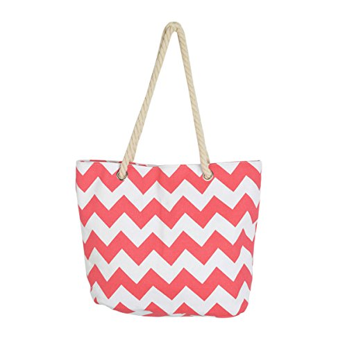 Premium Large Chevron Zig Zag Canvas Tote Shoulder Bag Handbag, Coral Orange -