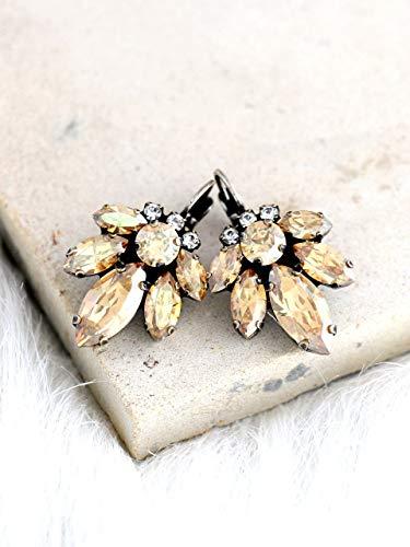 Bridal Champagne Drop Dangle Earrings, Swarovski Crystal Wedding Jewelry, Handmade Designer Bridesmaids Gifts