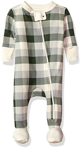 Burt's Bees Baby Baby Organic Zip Front Sleeper, Evergreen Buffalo Plaid, 6-9 Months