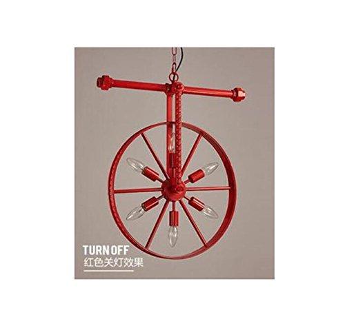 ロフトレトロ産業風人格レストランバーアメリカンアメリカの錬鉄製のバーのアートホイールシャンデリアlu1291040py (Size : Red) B07K38RWCH   Red