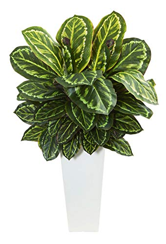 Artificial Plant -Maranta with White Tower Vases Silk Plant