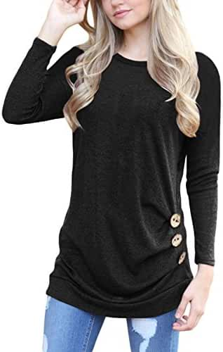 HOTAPEI Womens Long Sleeve Casual Round Neck Loose Tunic Top Blouse T-Shirt