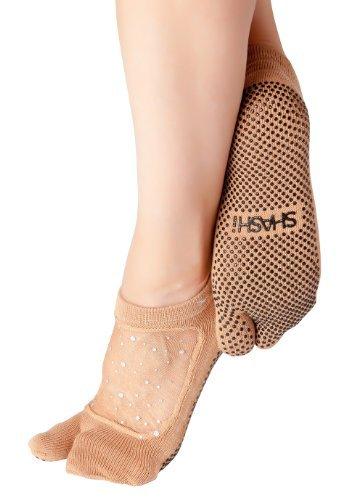 Shashi Nude Glitter Mesh Non Slip Split Toe Ergonomic Sock Pilates Barre Yoga Nude Medium / (Twinkle Toes Clothes)