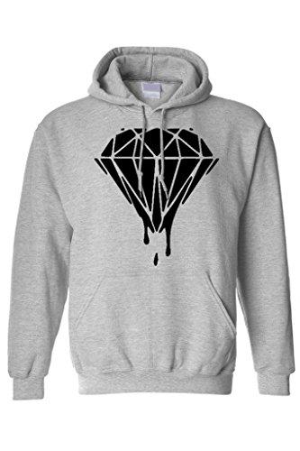 Men's/Unisex Pullover Hoodie Funny Black Dripping Blood Diamond GREY (Medium)