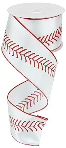 Baseball Ribbon Red Black White Wired Ribbon 2.5
