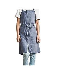 Jannyshop Cotton Plain Apron with Two Pockets Adjustable Chef Bib Apron Cooking Kitchen Restaurant Uniform Aprons