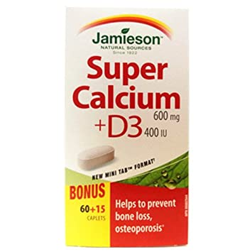 JamiesonVitamin Super Calcium with Vitamin D — 600 mg Calcium, 400 IU Vitamin D .