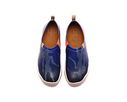 Uin Heren Anubis Geschilderde Lederen Loafer Schoen Blauw
