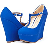 DREAM PAIRS HEIGHT Womens Mary-Jane T-Strap Wedge Platform Pumps Shoes