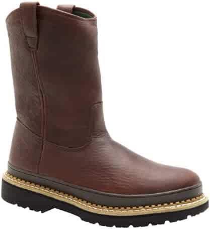 Georgia Mens 10-inch Wellington Barracuda Gold Wedge Boot W7 G5153