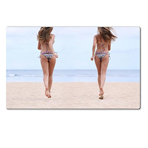Liili Premium Large Table Mat 28.4 x 17.7 x 0.2 inches happy women in bikini walks on a beach Photo 9619952
