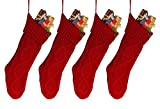 Goege Bailey 18'' 4PCS Unique Burgundy Knit Christmas Stockings,Style2