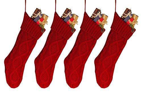 goege bailey 18 4pcs unique burgundy knit christmas stockingsstyle2 - Best Christmas Stockings