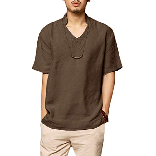 Beautyfine Summer Cotton Shirt Short Sleeve Men's Cool Breathable Stand Collar Top T-Shirt Gray