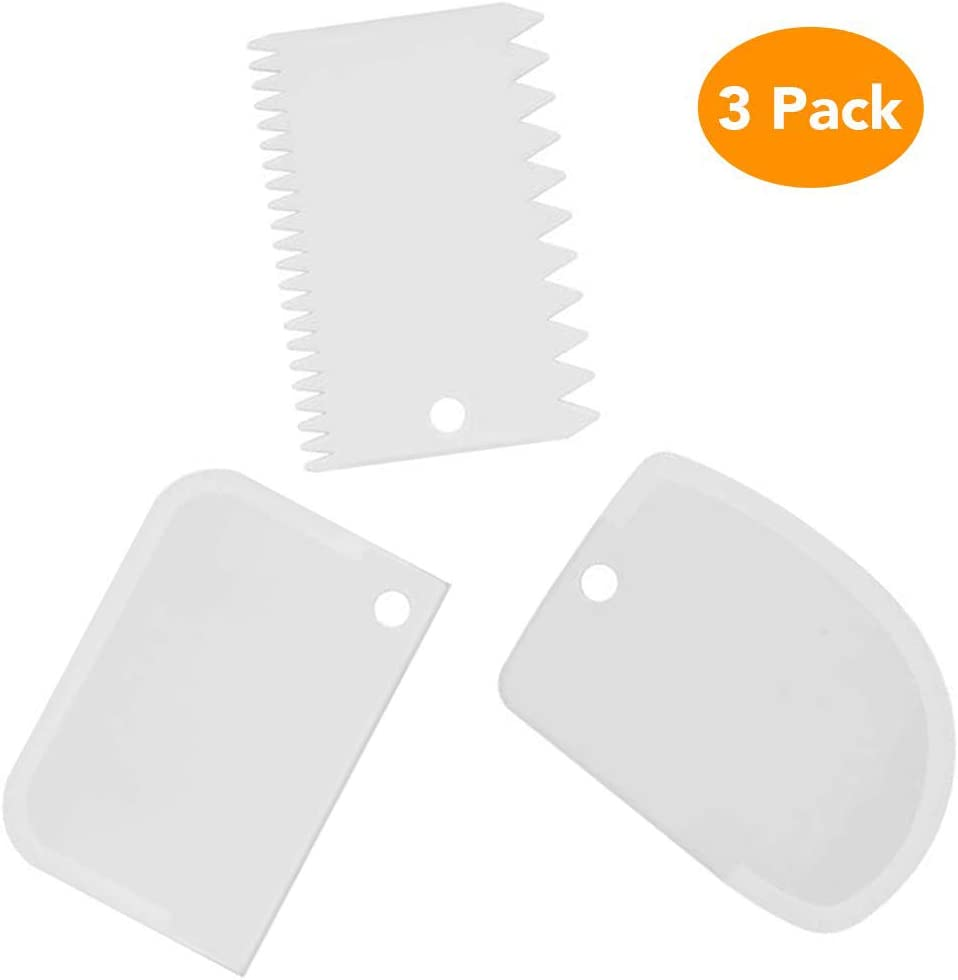 Dough Bowl Scraper Kit Multipurpose Curved Flat Edge Flexible Dough Scrapers Spatula Home Kitchen Flexible Scrapers For Food Processor Bowl & Kitchen Bowl Scraping Baking, Bread Dough, Cake Fondant, Icing(3PCS)