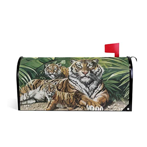 Family Tiger Painting Magnetic Mailbox Covers Sticker Mail Post Box Decor ()