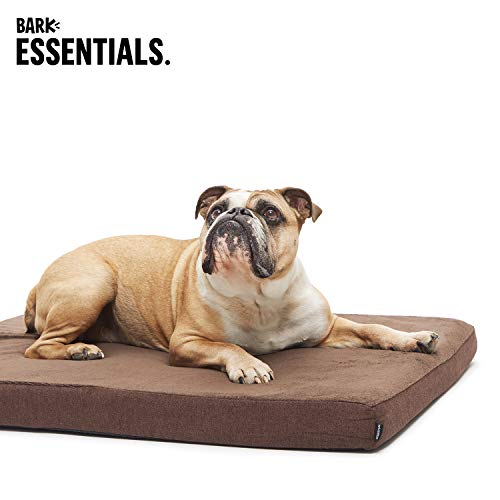 BarkBox Large Brown Plush Orthopedic Memory Foam Dog Bed or Crate Mat | Removable Washable Cover - Free Surprise!