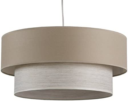 Maison de Lune 42290 - Lámpara Techo Doble Pantalla, Casquillo E27, color Marrón/ Blanco: Amazon.es: Iluminación