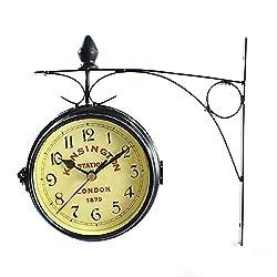 Muellery Vintage Double Sided Wall Clock Iron Metal London Kensington Station Wall Clock Art Clock Decorative Antique Wall Clock
