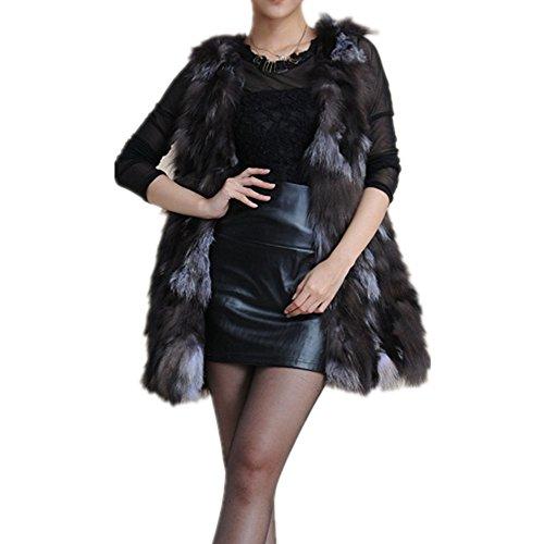 Fur Coat Brown Fox (Silver Fox Fur Vest Coat Winter Sleeveless Jacket Women V Collar (L, brown))