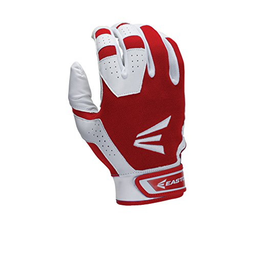 Easton Youth HS3 Batting Gloves, White/Red, Small