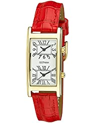 Gotham Womans Gold-Tone Dual Time Red Leather Strap Watch # GWC15090GR