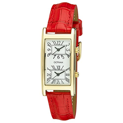 Gotham Woman's Gold-Tone Dual Time Red Leather Strap Watch # (Womens Dual Time Watch)