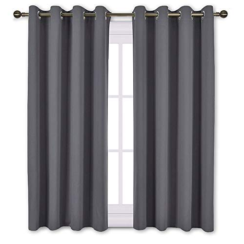 NICETOWN Bedroom Blackout Curtains Panels - Window Treatment Thermal Insulated Solid Grommet Blackout for Living Room (Set of 2 Panels, 52 by 63 ()