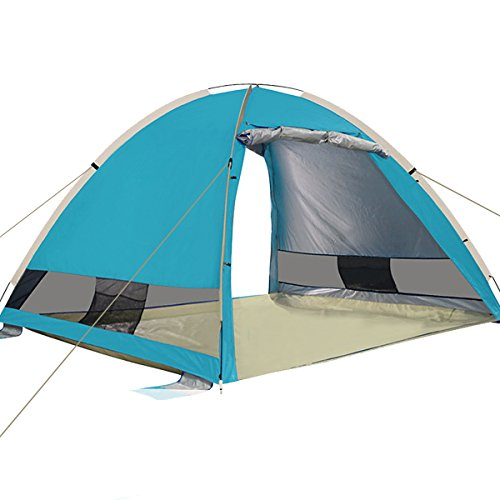 G4Free Large Pop Up Beach Tent 3-4 Person Instant Easy Up Outdoors Cabana Anti UV Portable UPF 50+ Automatic Sun Shelter For Sport Fishing(LAKE BLUE)