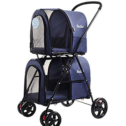 YZMKD Pet Stroller Carrier -Double-Decker Folding Four-Wheeled Pet Dog Pram Pet Carriers Pet Trolley Cat and Dog Cart,Load Within 10Kg,Blue,A