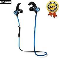 SKnnu Earhook Bluetooth Headphones Fitness Headphones Earhook Bluetooth Earbuds w/ Noise Cancelling,Ergonomical Earhooks,Sweatproof,MIC,Stereo Sound for Exercise,enjoyment Blue