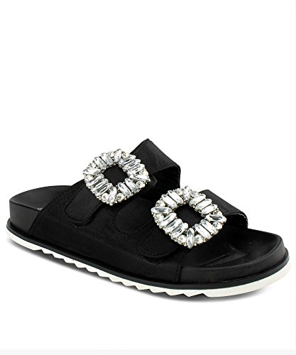 Embellished Platform - RF ROOM OF FASHION Jeweled Double Band Platform Silk Slides Sandals | Velcro Strap for Wide Width Adjustment Black (8.5)
