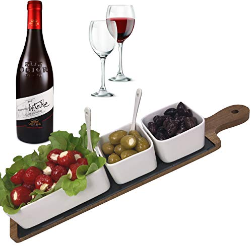 Solander Skelf Serving Tray Acacia Wood and Slate - A Deluxe Charcuterie Board Cheese Platter with Rectangular & Square Ceramic Dipping Bowls Tasting Spoons - Modern Dip Set - Elegant - Wood Chip Acacia