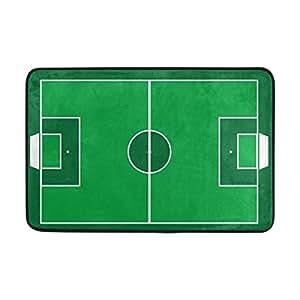 zoeo decoración del hogar antideslizante Vintage verde campo de fútbol americano Felpudo piso Felpudo para interior Outerdoor baño 23,6x 15,7pulgadas