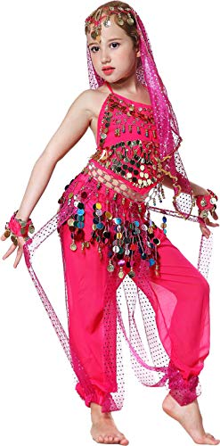 Belly Dance Costume Kids Genie Halloween Costumes Girls 3T 4T 4 5 6 7 8 9 12 14 16 Pink