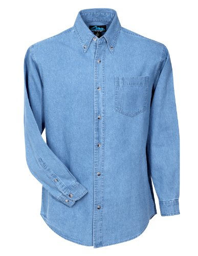 Stonewashed Denim Shirt - Tri-Mountain Men's 100% Cotton Denim Heavyweight Stonewashed Shirt