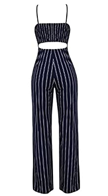 JINTING Women Spaghetti Strap Sleeveless Wide Leg Long Pants Cut Out Back Striped Casual Jumpsuit Romper