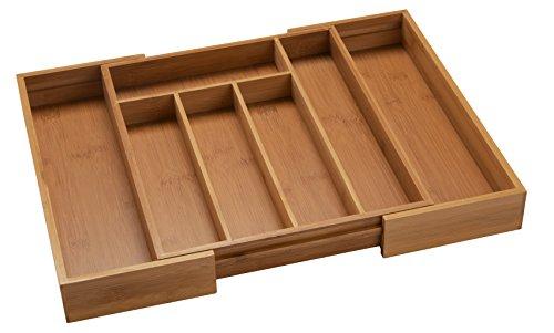 BAMSIRA Expandable Kitchen Drawer Organizers for Utensils,Adjustable Kitchen Drawer Dividers(7 compartments)