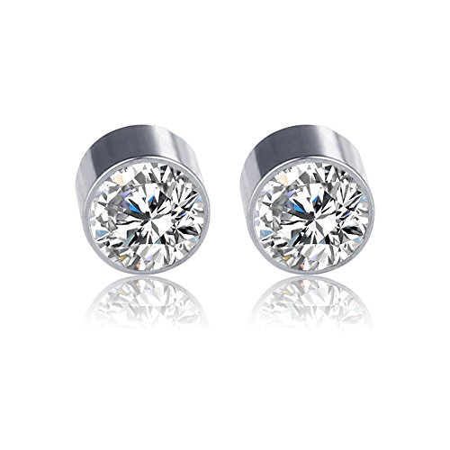 Price comparison product image Colorful Zirconia Charms Earring Clip Stainless Steel None Piercing Magnetic Earring Stud