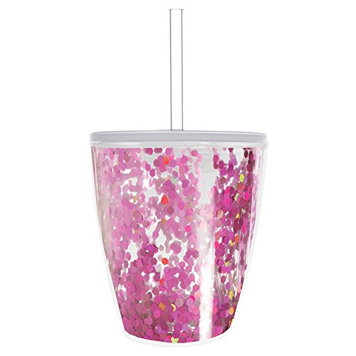 Slant - 10 oz. Acrylic Double Wall Double Old Fashion with Lid and Straw - Pink Confetti