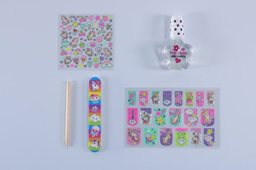 Hot Focus 77+ Rainbow Unicorn Glow in the Dark Kids Nail Art Kit–Nail Polish, Nail File, Glow in the Dark Stickers and Patches and Manicure Stick-Perfect Manicure Pedicure Birthday Girl Gift Idea by Hot Focus (Image #3)