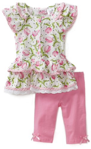 Young Hearts Baby Girls' Pink Woven Floral Jersey With Pink Knit Pant Set
