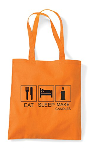 Orange Funny Eat Tote Activity Sleep Candles Tiles Shopper Hobby Bag Make wwqF1g